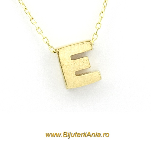 Bijuterii aur lanturi cu medalion colectie noua litera E