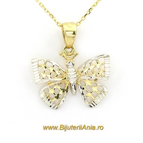 Bijuterii aur lant cu medalion colectie noua FLUTURAS