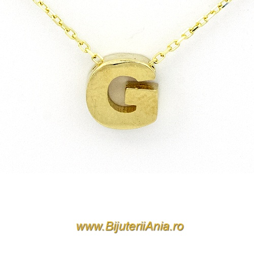 Bijuterii aur lant cu medalion colectie noua litera G