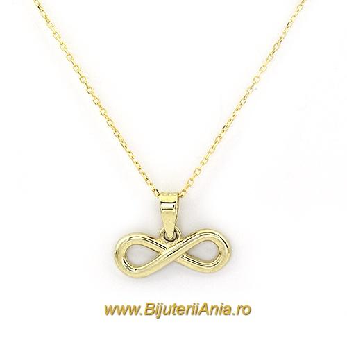 Bijuterii aur galben lant cu medalion colectie noua INFINITY