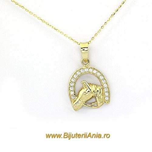 Bijuterii aur galben lant cu medalion colectie noua POTCOAVA