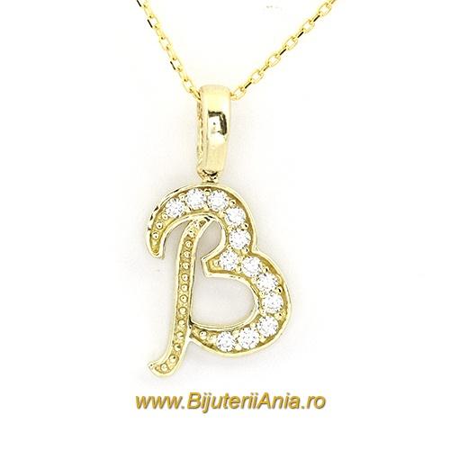 Bijuterii aur galben lant cu medalion colectie noua litera B