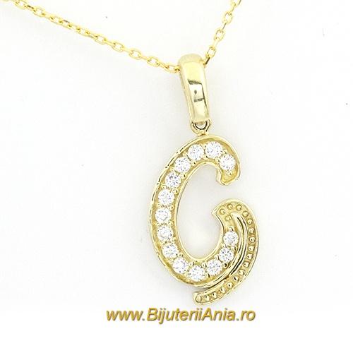Bijuterii aur galben lant cu medalion colectie noua litera G