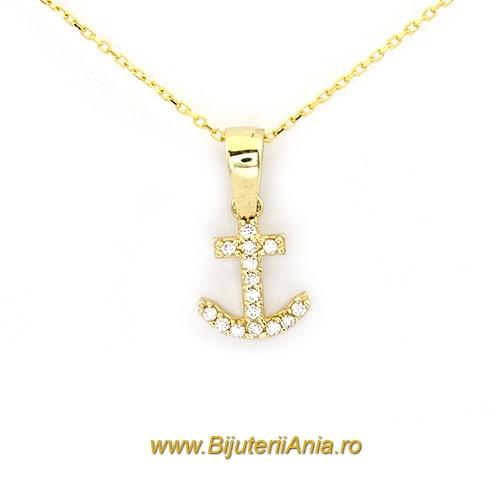 Bijuterii aur galben lant cu medalion colectie noua ANCORA