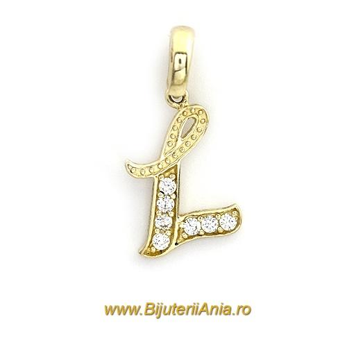 Bijuterii aur galben medalion colectie noua litera L