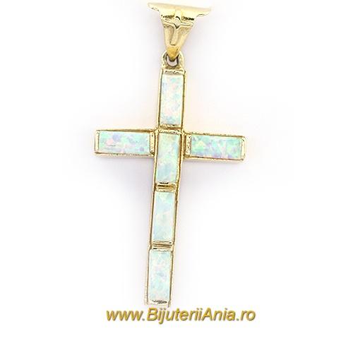 Bijuterii aur galben medalion colectie noua CRUCE OPALIT OFERTA SPECIALA