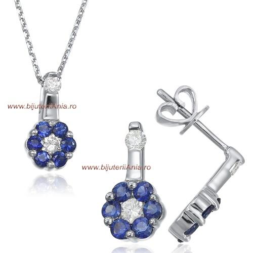 Bijuterii aur alb seturi cu diamante ITALIA safir