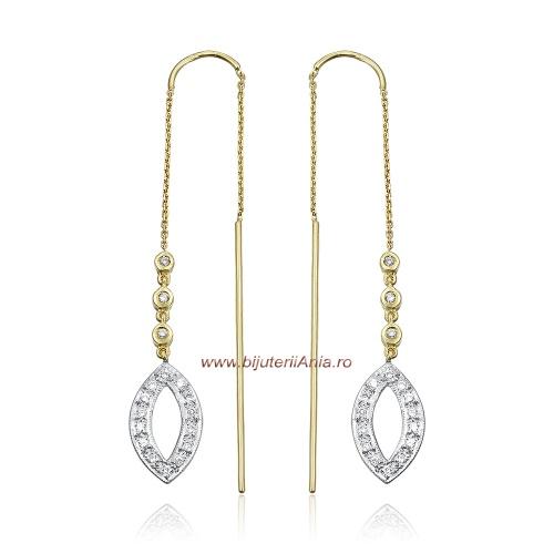 Bijuterii aur galben cercei cu diamante ITALIA