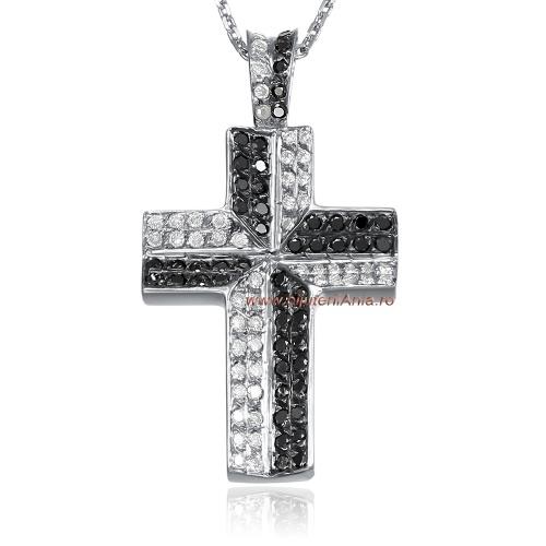 Bijuterii aur alb lant cu medalion diamante ITALIA