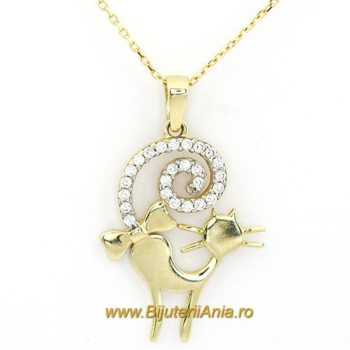 Bijuterii aur galben lant cu medalion colectie noua PISICUTA