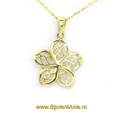 Bijuterii aur galben lant cu medalion colectie noua FLORICICA