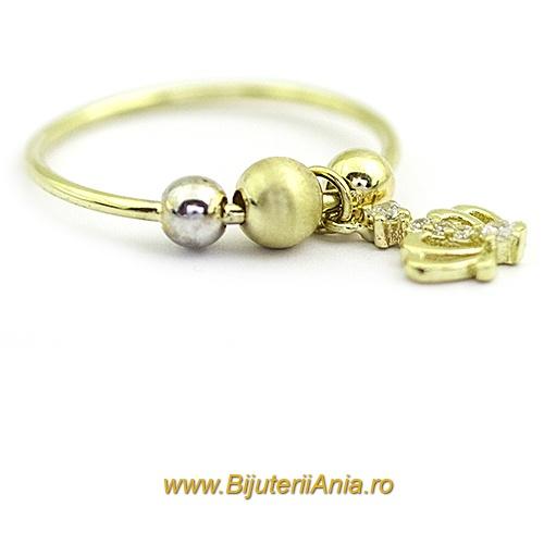 Bijuterii aur galben inel colectie noua CHARM COROANA REGALA