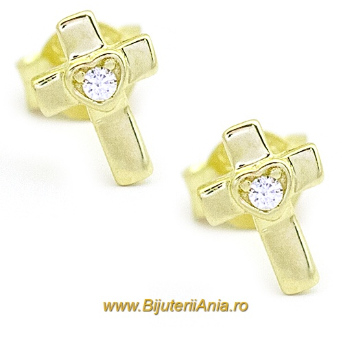 Bijuterii aur galben cercei colectie noua Cruciulita