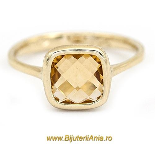 Bijuterii aur galben inel colectie noua  LUXURY ITALIA CITRIN
