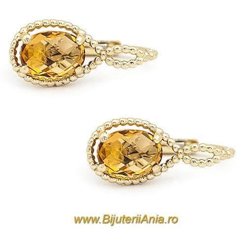 Bijuterii aur galben cercei colectie noua ITALIA LUXURY - CITRIN