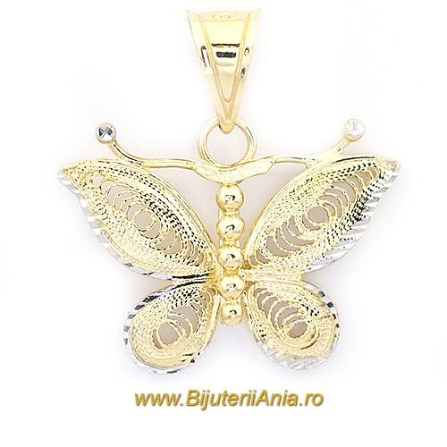 Bijuterii aur galben Medalion colectie noua FLUTURAS