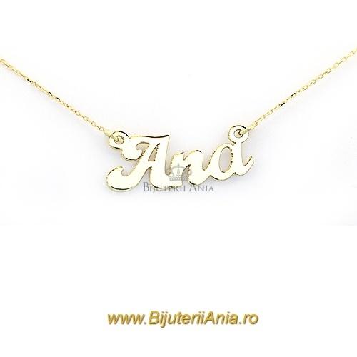 Bijuterii aur galben lanturi cu nume personalizate HANDMADE - ANA