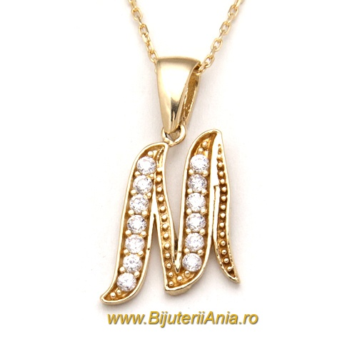 Bijuterii aur galben lanturi cu medalion colectii noi litera M