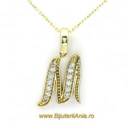 Bijuterii aur galben lant cu medalion colectie noua litera M
