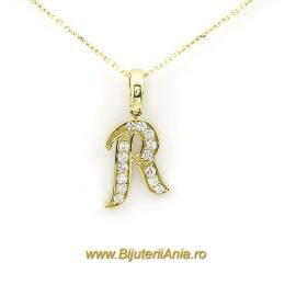 Bijuterii aur galben lant cu medalion colectie noua litera R