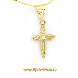 Bijuterii aur galben lant cu medalion colectie noua CRUCE