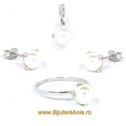 Bijuterii aur alb seturi colectie noua cu PERLUTE