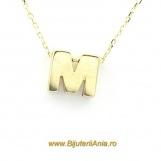 Bijuterii aur galben lant cu pandantiv colectie noua LITERA M