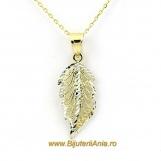 Bijuterii aur galben si aur alb lant cu medalion FRUNZA
