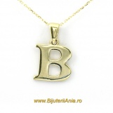 Bijuterii aur galben lant cu pandantiv colectie noua LITERA B