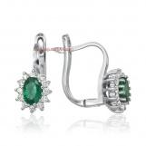 Bijuterii aur alb cercei cu diamante ITALIA si smarald