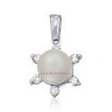 Bijuterii aur alb medalion cu diamante ITALIA