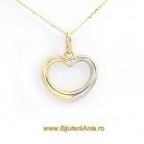 Bijuterii aur galben aur alb lant cu medalion colectie noua INIMA