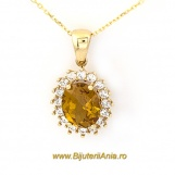 Bijuterii aur galben lant cu medalion colectie noua CITRIN