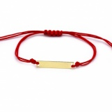 Bijuterii aur galben bratara cu  snur rosu colectie noua model PLACUTA