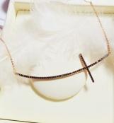 Bijuterii aur roz colectia noua GRECIA - lant cu pandant model CRUCE ONIX