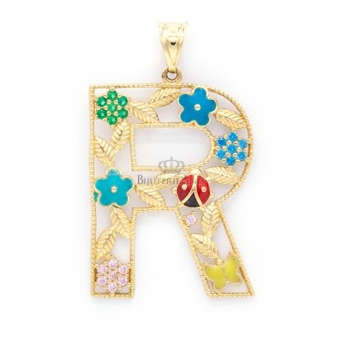 Bijuterii aur galben pandantive colectie noua litera R