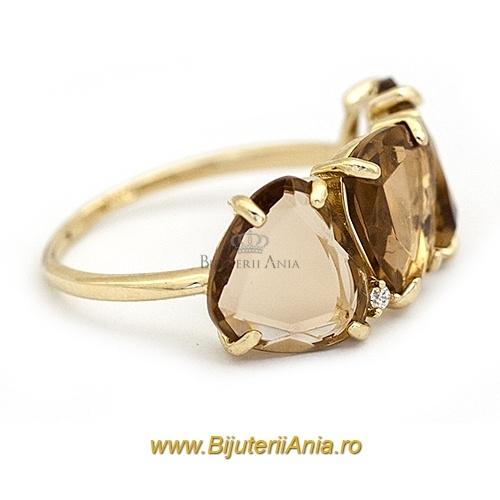 Bijuterii aur galben inele colectie noua LUXURY ITALIA CITRIN