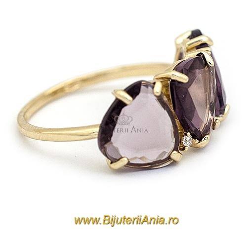Bijuterii aur galben inel colectie noua LUXURY ITALIA  AMETIST