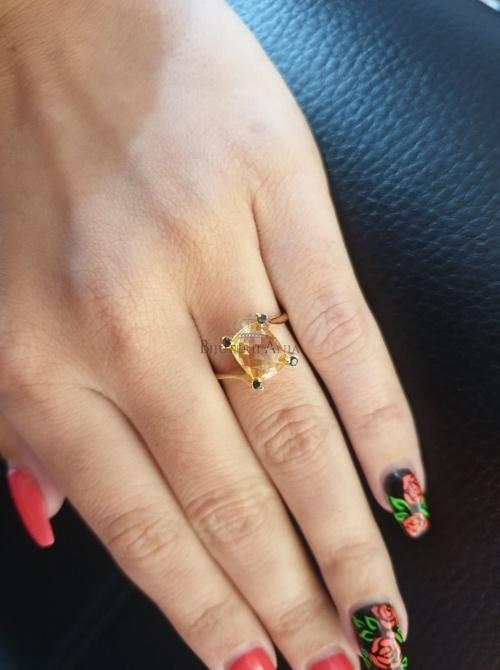 Bijuterii aur galben inel colectie noua ITALIA LUXURY - CITRIN