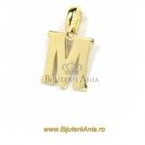 Bijuterii aur galben pandantiv colectie noua LITERA M
