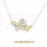 Bijuterii aur galben lant cu medalion colectii noi FLUTURAS