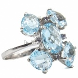 Bijuterii aur alb inel colectie noua ITALIA LUXURY - BLUE TOPAZ