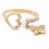 Bijuterii aur galben inel colectie noua model INIMA SI FLUTURAS