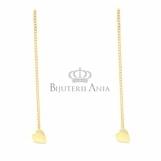 Bijuterii aur galben cercei cu lant colectie noua INIMIOARA